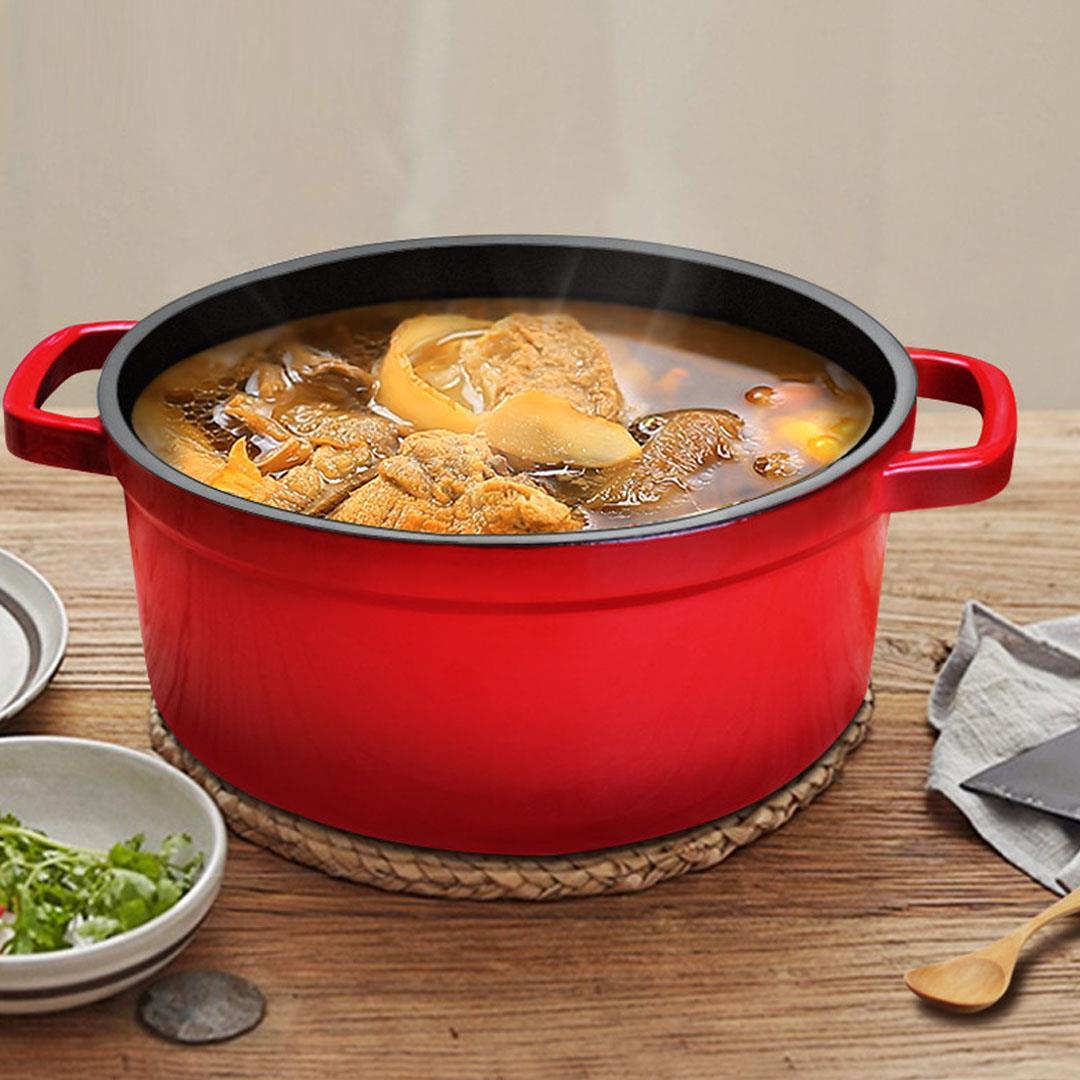Cast Iron Enamel Porcelain Stewpot Casserole Cooking Stew